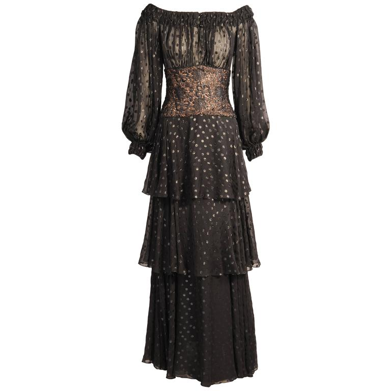 Givenchy Haute Couture Black Silk Chiffon and Lace Evening Dress For Sale