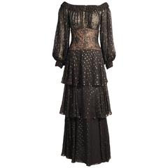 Givenchy Haute Couture Black Silk Chiffon and Lace Evening Dress
