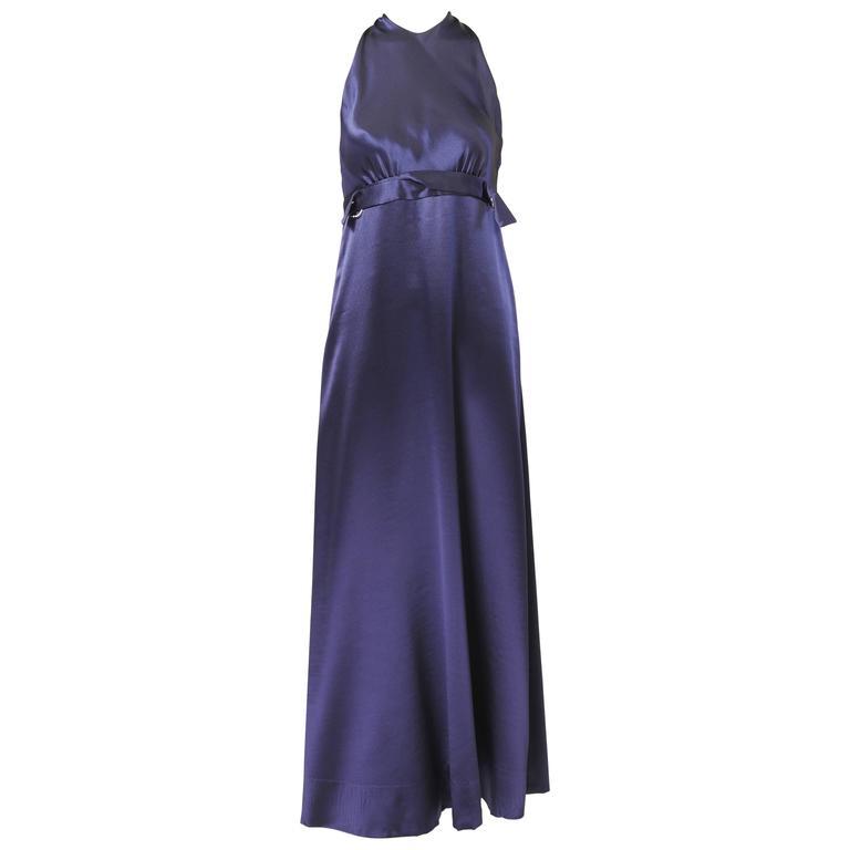 1970's Galanos Sapphire Blue Silk Evening Dress 1