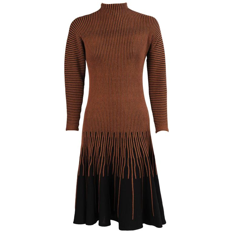 Graphic 1960's Brown and Black Knit Dress
