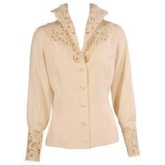 Austrian Cream Silk Blouse with Cut Work Collar & Cuffs