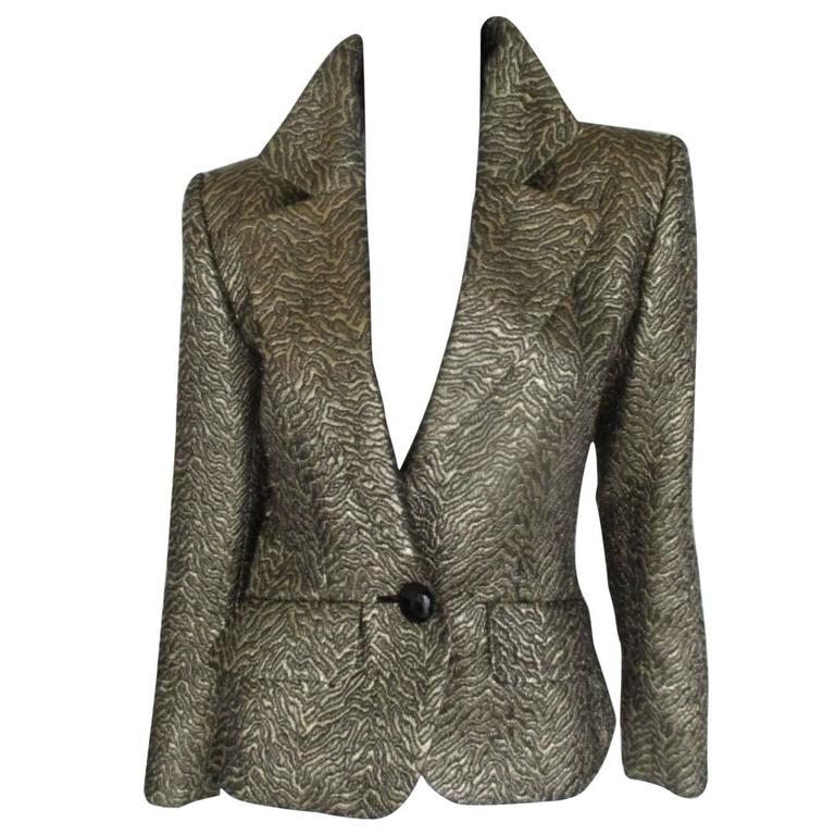 Yves Saint Laurent Gold Metallic Jacket For Sale
