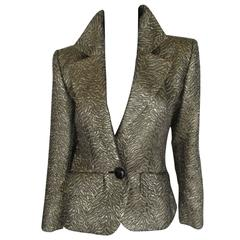 exclusive yves saint laurent gold metallic jacket