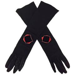 Chanel Black Kidskin Gloves With Geometric Pink Stingray Lined Cutout - Size 7