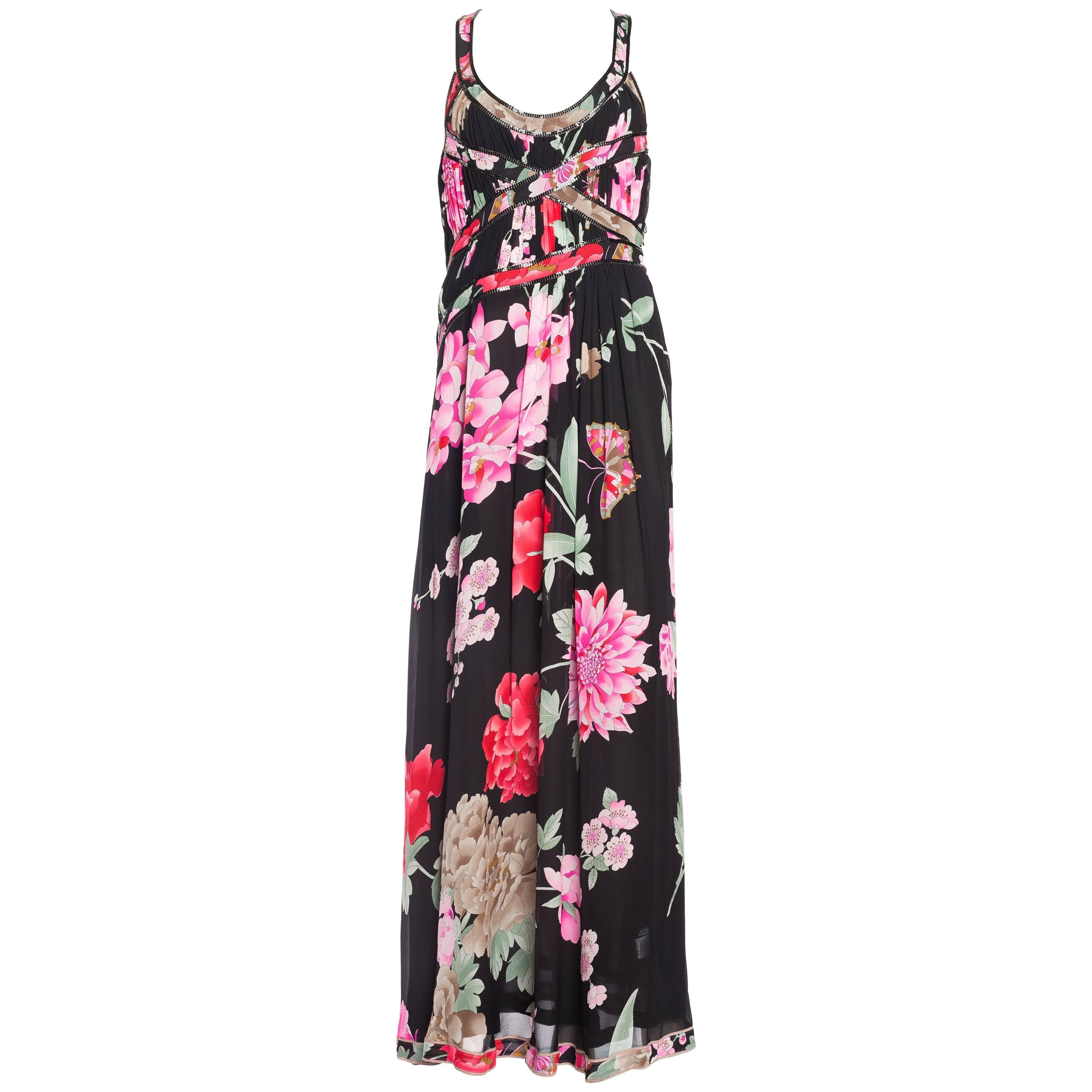 1990S LEONARD Pink & Black Silk Chiffon Tropical Floral Gown With Metal Mesh Tr