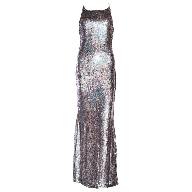 Badgley Mischka Silver sequin backless gown