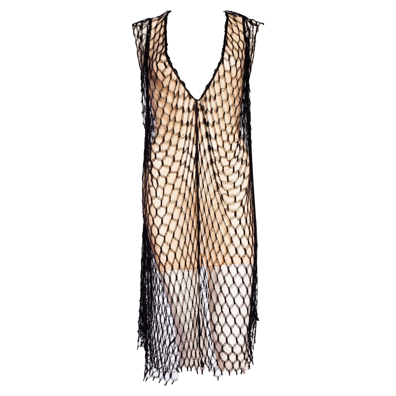 1990S JEAN PAUL GAULTIER Stretch  Net Low-Cut Nude Mini Dress With Oversized Bl