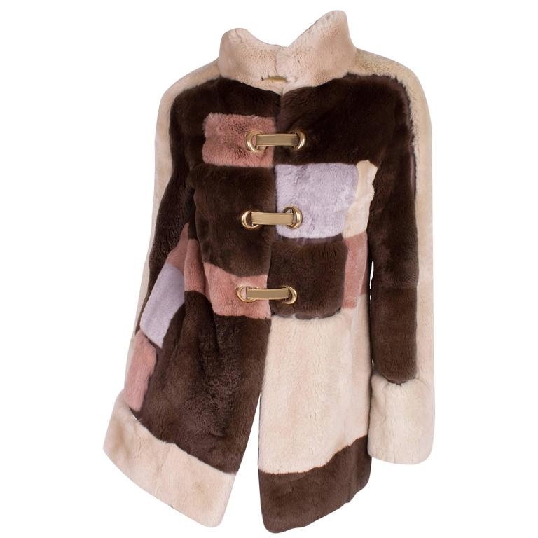 Emilio Pucci Rabbit Fur Coat - brown/beige/gray/pale pink  For Sale