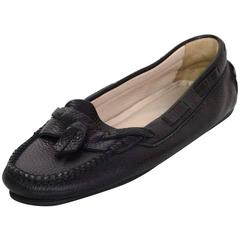 Chanel Black Leather Moccasin Driving Shoes sz 37.5