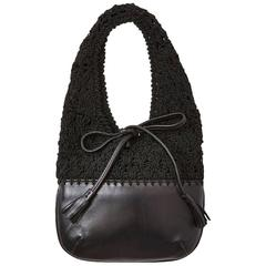 "Ferragamo Leather and Crochet ""Market"" Bag"
