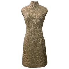 Pauline Trigere 1960s Cream Brocade Sleeveless Mock Neck Shift Dress