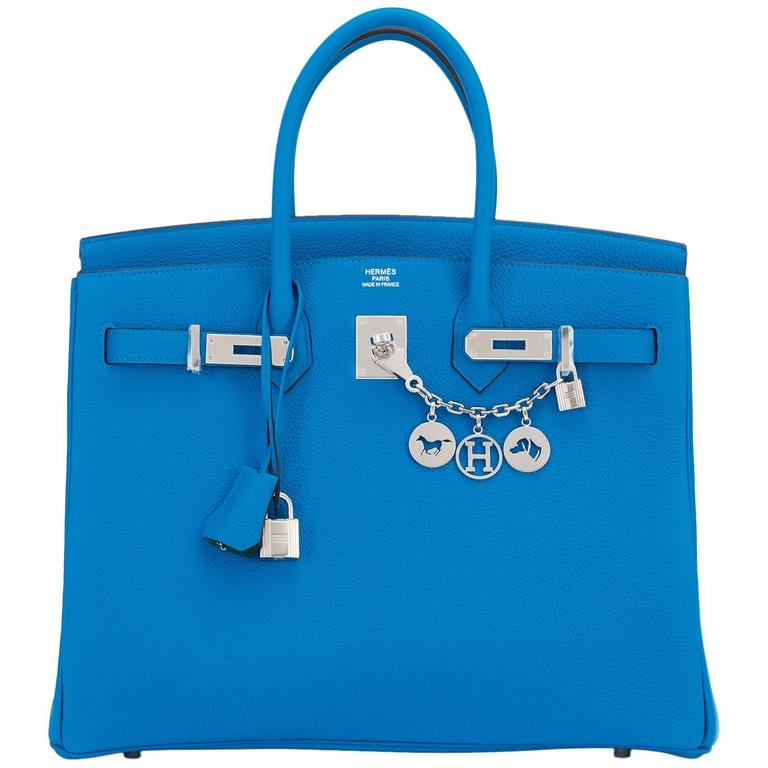 "Hermes Blue Zanzibar TOGO ""Verso"" Malachite 35cm Birkin Palladium Limited For Sale"