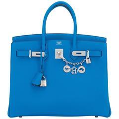 "Hermes Blue Zanzibar TOGO ""Verso"" Malachite 35cm Birkin Palladium Limited"