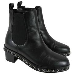 Chanel Black Leather Chelsea Boots with Chain Detail