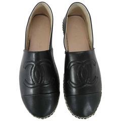 Chanel Black Leather Cc Monogrammed Espadrilles