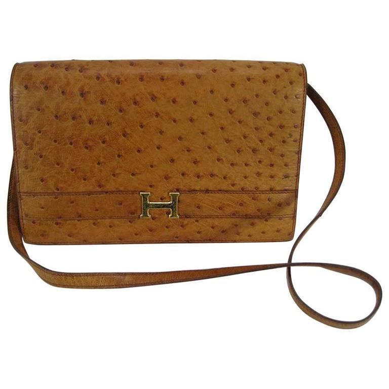 Hermes Vintage Ostrich Leather Shoulder Bag For