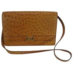 Hermes Vintage Ostrich Leather Shoulder Bag