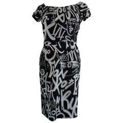 Moschino Couture Black White Graffiti Print Dress NWOT