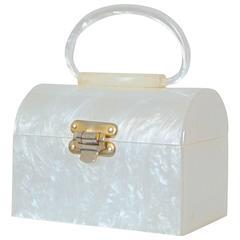 Vintage 1960s White Lucite Top Handle Purse Bag Trinket Box