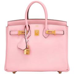 Hermes Rose Sakura Baby Birkin 25cm Swift Gold Hardware Jewel
