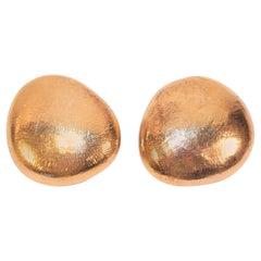 C.1990 John Iversen Sterling Silver Vermeil Pebble Earrings