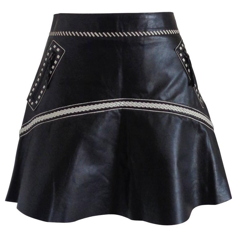 Roberto Cavalli Black Cream Leather Skirt NWOT