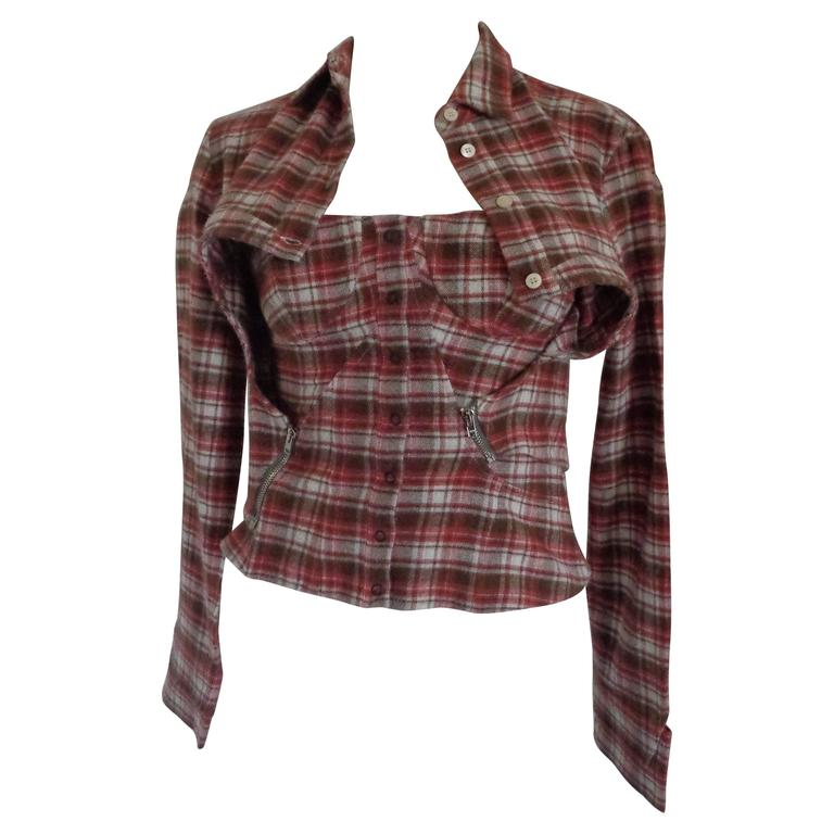 Hussey Chalayan Tartan Cotton Shirt Corset