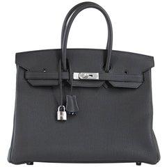 Hermes Birkin 35 Bag Verso Black Chic Blue Agate Interior Togo Palladium