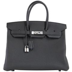 Hermes Birkin 35 Bag Verso Black Chic Blue Agate Interior Togo Palladium