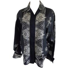 1980s Gianni Versace Black White Silk Shirt