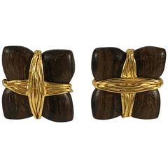 1980s Yves Saint Laurent Rive Gauche Wooden and Goldtone Earrings