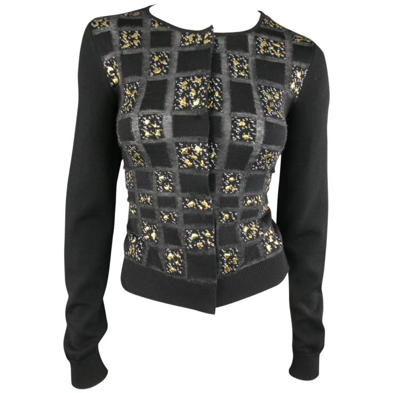 GIAMBATTISTA VALLI Size 6 Black Charcoal Gold Splatter Geometric Wool Cardigan