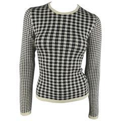 YOHJI YAMAMOTO Size L Cream & Black Houndstooth Wool Blend Pullover Sweater