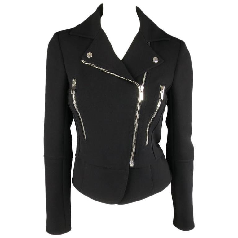 BALENCIAGA Nicolas Ghesquiere Size 4 Black Silver Zip Cropped Motorcycle Jacket 1