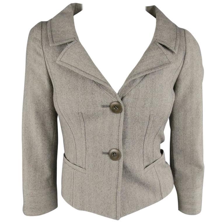 VALENTINO Size 4 Gray & Taupe Herringbone Cropped Blazer