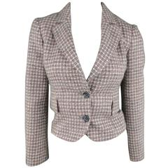 RED VALENTINO Jacket 2 Gray & Pink Plaid Wool Tweed Cropped Peak Lapel Blazer