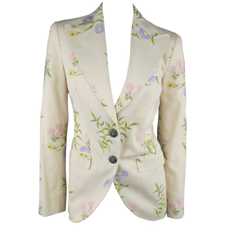 DOLCE & GABBANA Size 6 Beige Pink & Purple Floral Print Blazer 1