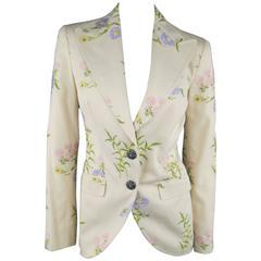 DOLCE & GABBANA Size 6 Beige Pink & Purple Floral Print Blazer