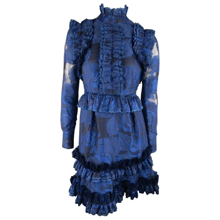 ERDEM Size 4 Navy Blue Floral Ruffled LORA Cocktail Dress 1