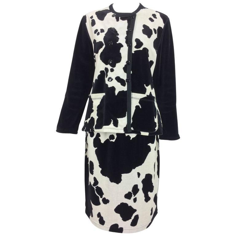 Vintage Sonia Rykiel black and white velour 2 piece skirt set 1980s