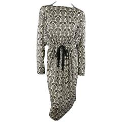 TAO COMME des GARCONS Size S Black & White Brocade Print Drawstring Cutout Dress