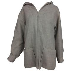 Vintage Rare Galanos flat weave taupe wool zipper front hooded jacket 1950s