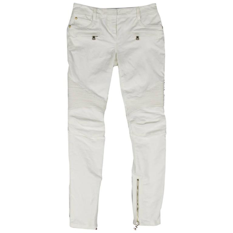 BALMAIN Jeans Size 4 White Cotton Gold Zip Moto