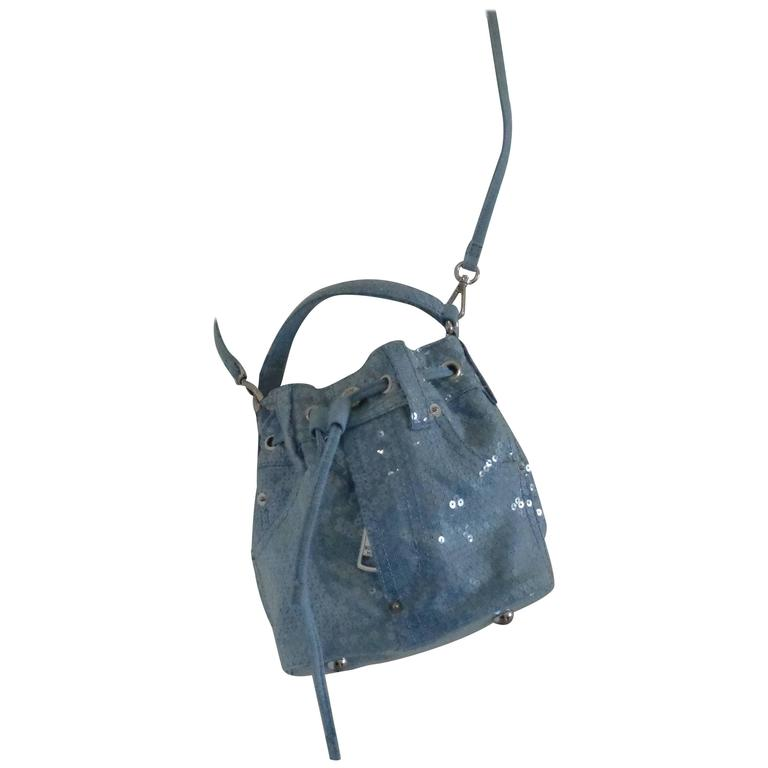 Moschino Couture Denim Bucket Bag with Sequins NWOT For Sale