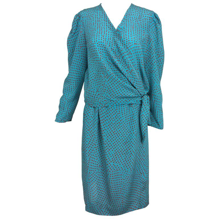 Vintage Lanvin turquoise with coral dot silk 2 piece set 1970s