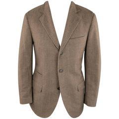 Men's BRUNELLO CUCINELLI 38 Short Tan & Brown Checkered Plaid Wool Sport Coat