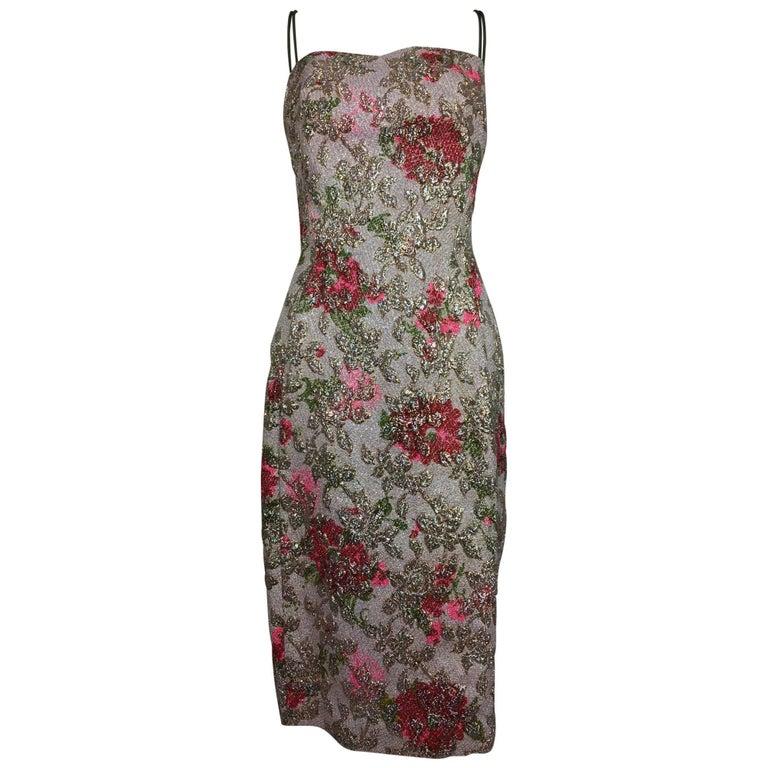Vintage Penny Parker metallic brocade sheath dress unworn 1950s  For Sale