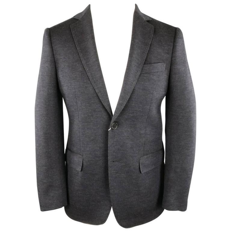 SALVATORE FERRAGAMO 36 Charcoal Heather Gray Wool Blend Jersey Sport Coat