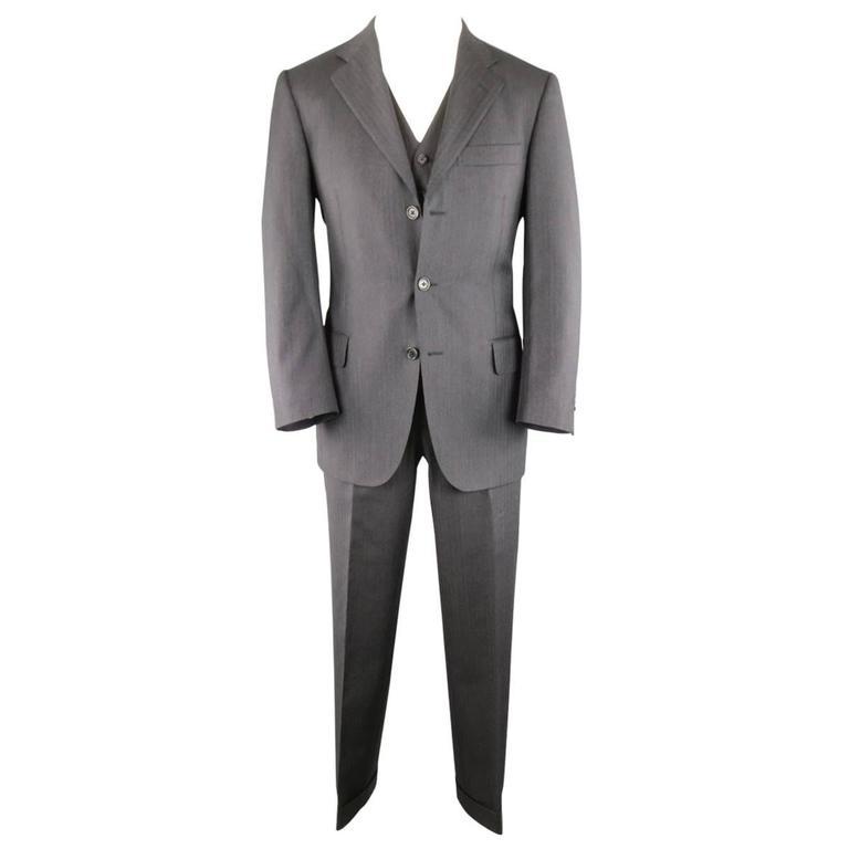 Men's SALVATORE FERRAGAMO 38 Regular Charcoal Herringbone Wool 3 Piece Suit