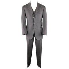 SALVATORE FERRAGAMO Suit - US 38 / 48 R Charcoal Herringbone Wool 3 Piece